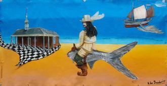 """Laatste werk   """"THE FLYING BALDER""""  (3,5 x 1.8 m)  te zien op het Zomerterras festival in Vlaardingen heel de maand augustus 2009"""
