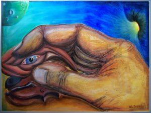 10 minutes before dark (voorzijde) - 90 x 125 cm waterverf op papier Ä 2400