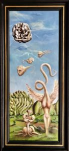 De afwachtenden gadegeslagen' Acryl op linnen, afm. 25 x 65 cm